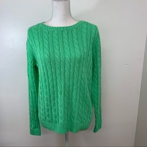 Lands End Womans Sweater M  Green Pull Over Long Sleeve Cotton